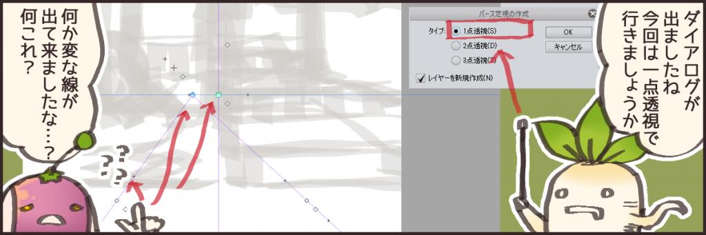 リトルベーカリーは二点透視で描いていますが、今回はとりあえずわかりやすい一点透視図法の方でいきます。 ダイアログ選択するとこのような十字線と丸い逆Vの字みたいなものが出て来ます。